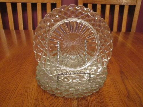 "Four Vintage Anchor Hocking Waterford Clear Glass 7"" Salad Plates ~ Excellent!!"