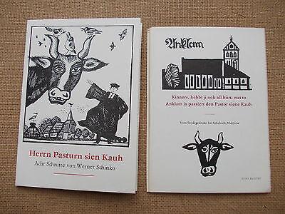 """Linolschnitt-Mappe """"HERRN PASTURN SIEN KAUH"""" - 8 Schnitte Werner Schinko, Röbel"""