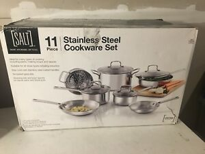 Brand new Salt 11 piece stainless steel cookware set