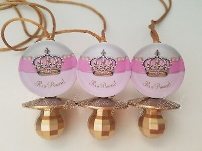 Princess Pacifier Necklace Baby Shower Game Favors 12 PINK GOLD Its a Girl Decor - Princess Baby Shower Games