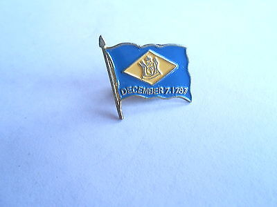 Cool Vintage State of Delware Enameled Enamel Flag Pin Pinback
