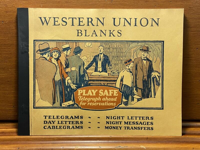 Western Union Telegram Blanks Book Almost Full c. 1930 Antique Telegraph Message