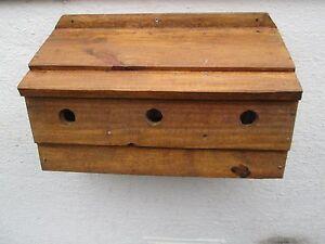 2 x Sparrow Triple Nesting Box 500 mm antique pine varnish