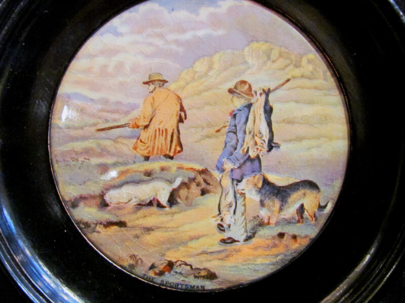 Antique English Pot Lid Titled The Sportsman 19th Century