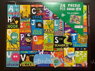 PUZZLE TIME 24 piece CHILDREN'S BOARD PUZZLE A-Z THE ALPHABET ABC FUN LEARNING!