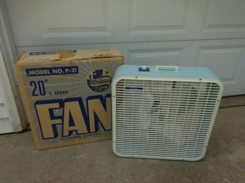 "Vintage Windsor Metal Blade 20"" Box Fan 2 Speed Blue w White Plastic Grills BOX"
