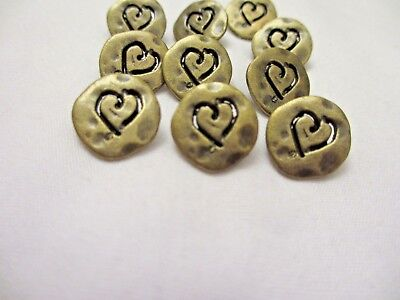 "5/8""  Antiqued BRONZE Tone Metal HEART  Shank Back  Buttons (12)"