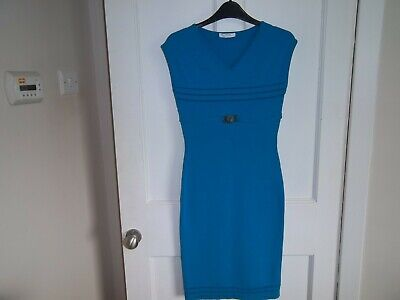 Versace dress, perfect condition, size 8, stunning blue colour with versace belt