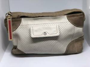 5fcbf89d65e86d Good condition Prada Sport Handbag<br/><br/>Kid suede that has darkened  over time and<br/><br/>has some small marks. White leather is unmarked.