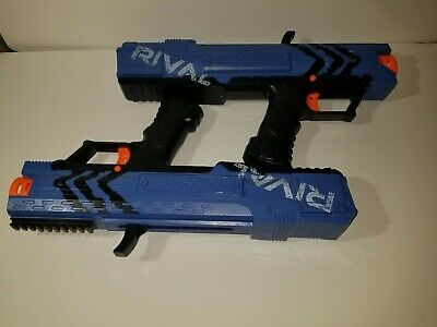 Nerf Gun Rival XV-700 Lot Of 2 - Blue No bullets or Mags Tested Working