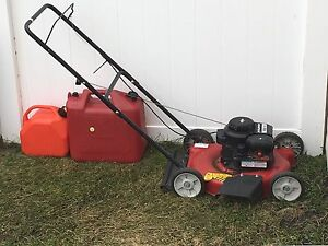 Lawn mower with two gas cans