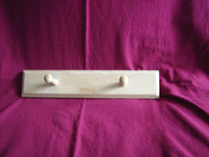 "Wood 2 Peg Holder -  Beige colored Oak - 15 1/2 "" long X 3"" wide - Handmade"
