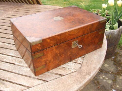 ANTIQUE BRASS BOUND BURR WALNUT WRITING SLOPE with secret drawers+ key, original
