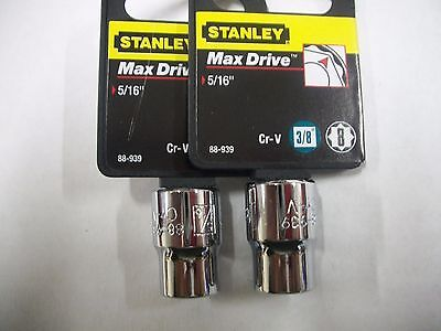 New Stanley 3 8 In Drive  5 16 Inch  Max Drive  8 Point Sockets  Two Sockets