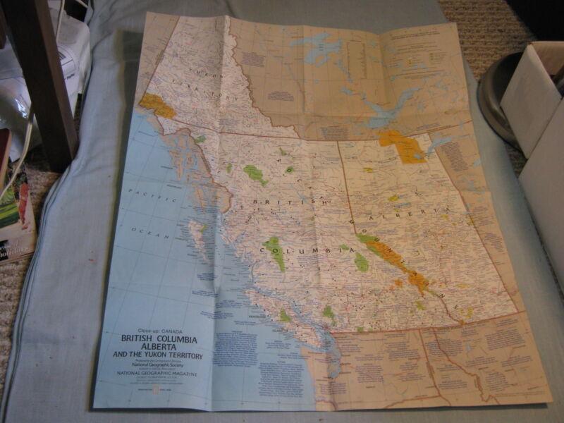 CANADA BRITISH COLUMBIA BC ALBERTA YUKON TERRITORY MAP National Geographic 1978