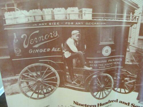 """Vintage 1975~VERNORS GINGER ALE~Calendar Sign 28"""" x 21""""~45 Yrs. Old"""