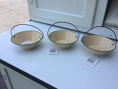 NEW,3 Cream w/ Green Rim,Swinging Handle Bowl,Dish,Decor,Holds Potpourri,Country