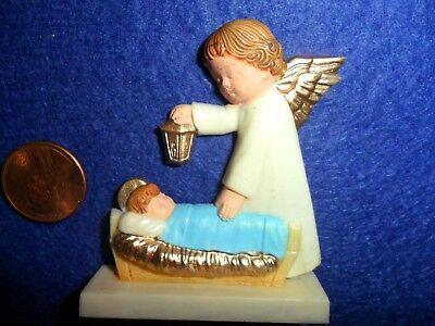 Vintage Plastic Angel Holding Lantern - Baby Jesus in Manger