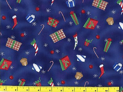 - Christmas Presents Stockings Candy Canes Dk Blue Quilting Fabric by Yard  #3004