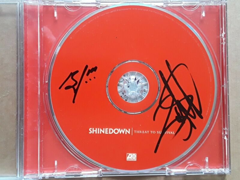 BRENT SMITH / ZACH MYERS Autograph/Signed SHINEDOWN Threat To Survival CD