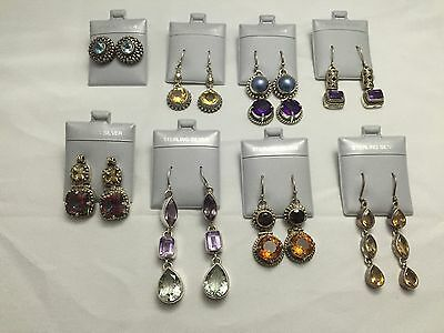 Lot of (8) Heavy Gauge .925 Sterling Silver Italian Design Gemstone Earrings
