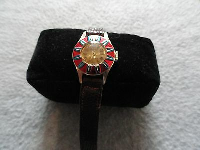 Vintage Swiss Made Holiday Jeweled Wind Up Ladies Watch -  Not Working