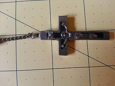 Vintage Long Catholic Rosary w Large Black Wood Beads & Inlaid Crucifix