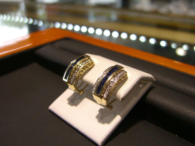 Fine Womens 14 Karat Yellow Gold Diamond And Sapphire Earrings New Wow!!