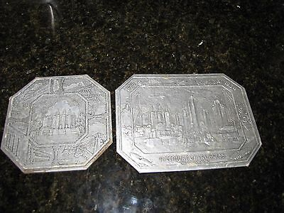 CHICAGO WORLDS FAIR 1933 1934 Century of Progress TRIVET LOT Silver