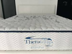 White leather double bed frame with double orthopedic mattress