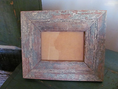 Vintage Reclaimed Wood Picture Frame, Distressed Green White Paint, Fits 6