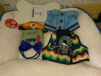 Small boy dog bundle: bed, harness, coat, leash, toy, bow tie and picture frame