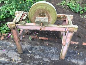 Primitive Grinding Wheel from Ontario Farmhouse
