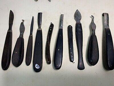 lot de 10 outils de veterinaire - manche en bois d'ébène   - lot 25