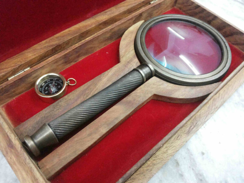 Antique Magnifier With Wooden Box Beautiful Vintage Maritime Item