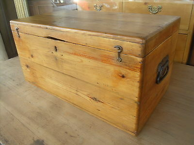 Small Victorian Antique Pine Box / Chest / Trunk