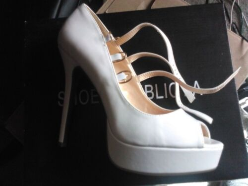 Shoe Republic LA Rumi Peptoe Platform Stiletto Heels size 10 New in Box White