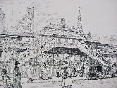 The El Train NYC Cityscape W Figures19th Cen Illustration Christie's Provenance