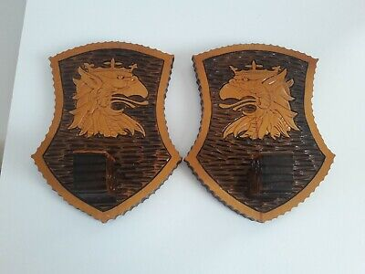 2 Carved Wooden Shield Wall Candle Sconces Medieval Style Carved Crowned Dragon