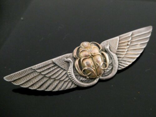 George W. Shiebler & Co. Egyptian Revival Sterling 14KT Winged Scarab Snake Pin