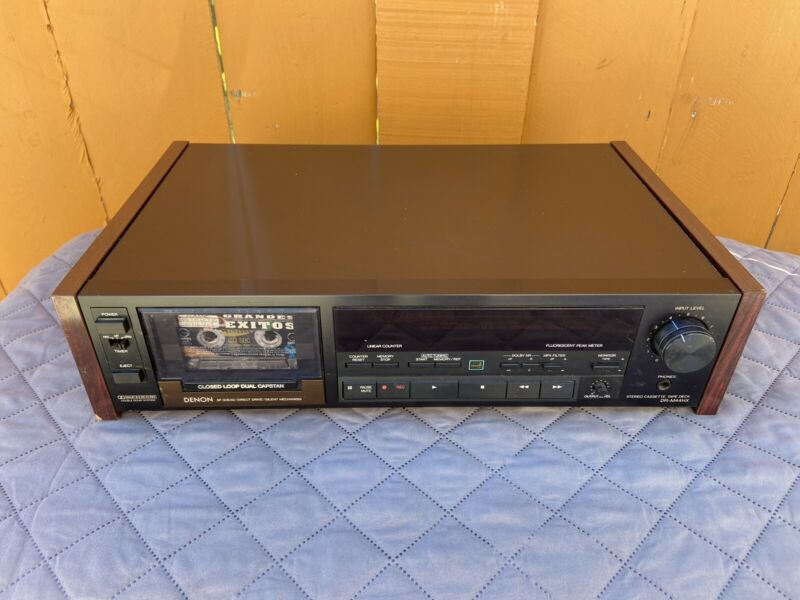 Vintage Denon DR-M44HX 3-head Cassette Deck Tested Works No Issues At All.