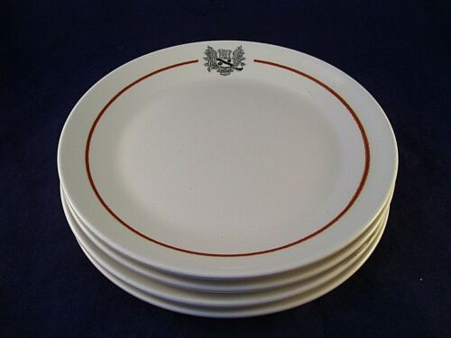 Sterling China Medallion 4 Salad Plates Restaurant Ware Griffins Coat of Arms