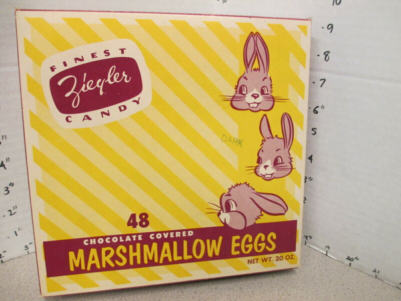 candy box 1950s Ziegler chocolate marshmallow Easter Eggs bunny store display