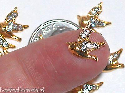5pc. Miniature dollhouse tiny Golden Flatbacks Crystal Dove Birds 10x11mm NEW**