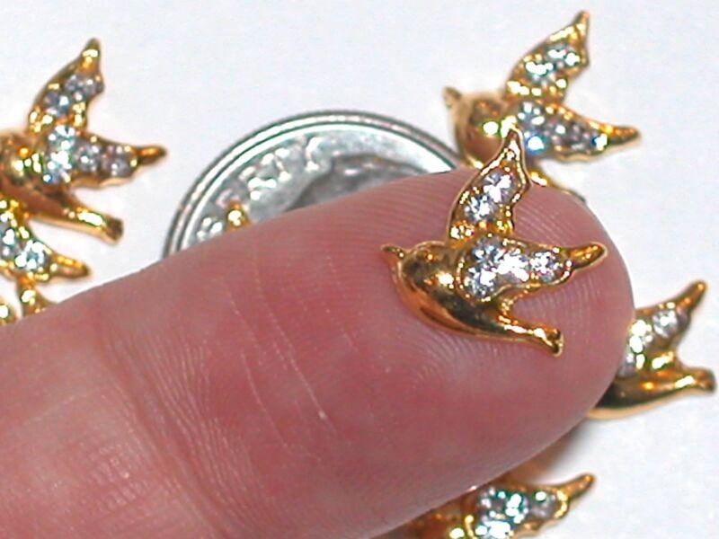2pc. Miniature dollhouse tiny Golden Flatbacks Crystal Dove Birds 10x11mm