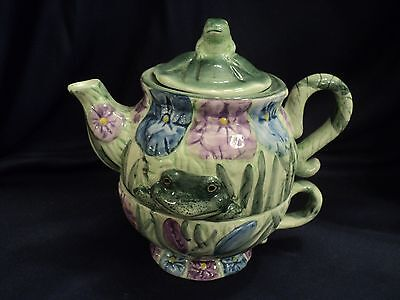 Frogs and Flowers Multi-Color Stackable Ceramic Teapot, Cup, Lid Set Silvestri