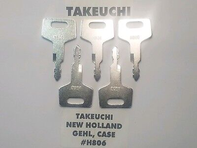 5 Takeuchi Gehl Case New Holland Excavator Heavy Equipment Keys H806