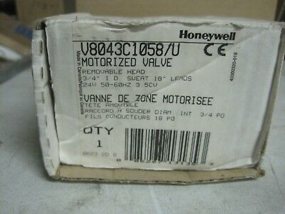 Honeywell V8043c1058u Zone Valve. 24v Normally Closed 34sweat 2 Wire