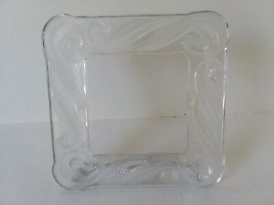 """Heavy Frosted and Clear Crystal Glass Picture Frame 5"""" x 5"""""""