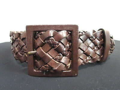 Brown Braided Woven Leather Wide Women's Belt Size 30